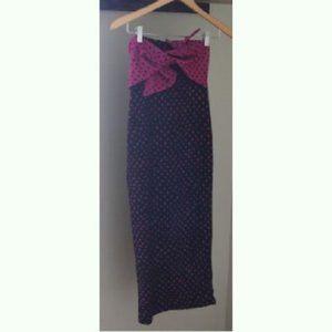 Topshop bow/twist front midi dress geo strapless